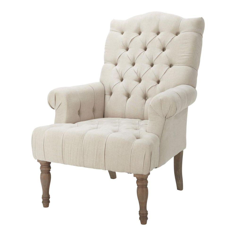 fauteuil capitonn en lin dorchester maisons du monde. Black Bedroom Furniture Sets. Home Design Ideas