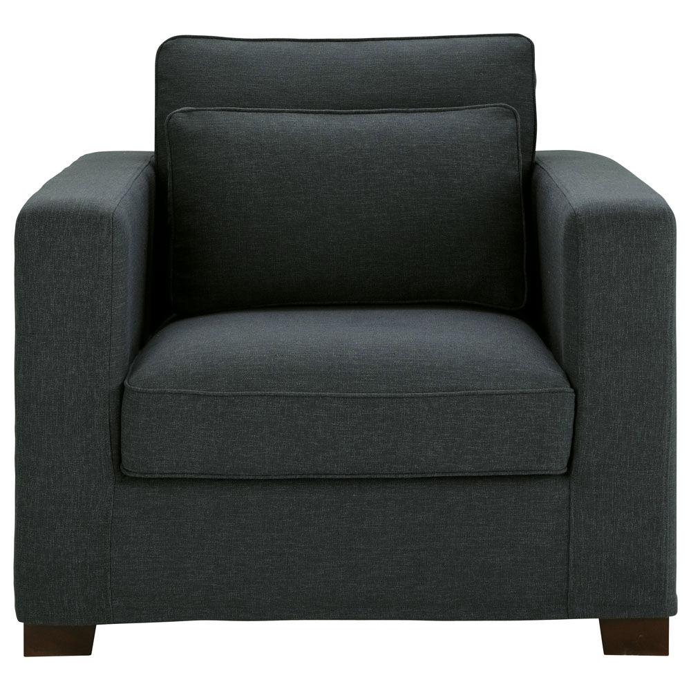 Fauteuil en tissu anthracite milano maisons du monde - Produit nettoyage fauteuil tissu ...
