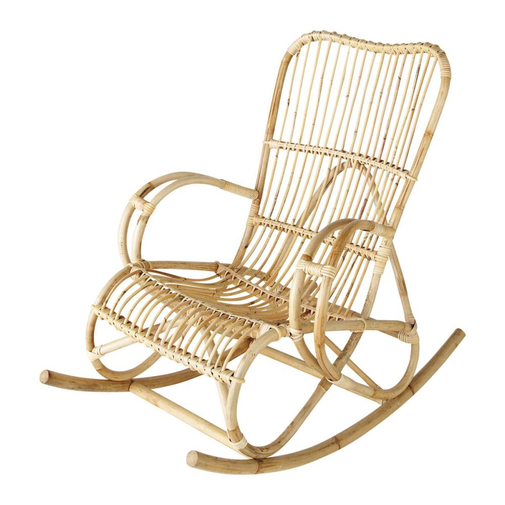 rocking chair en rotin louisiane maisons du monde
