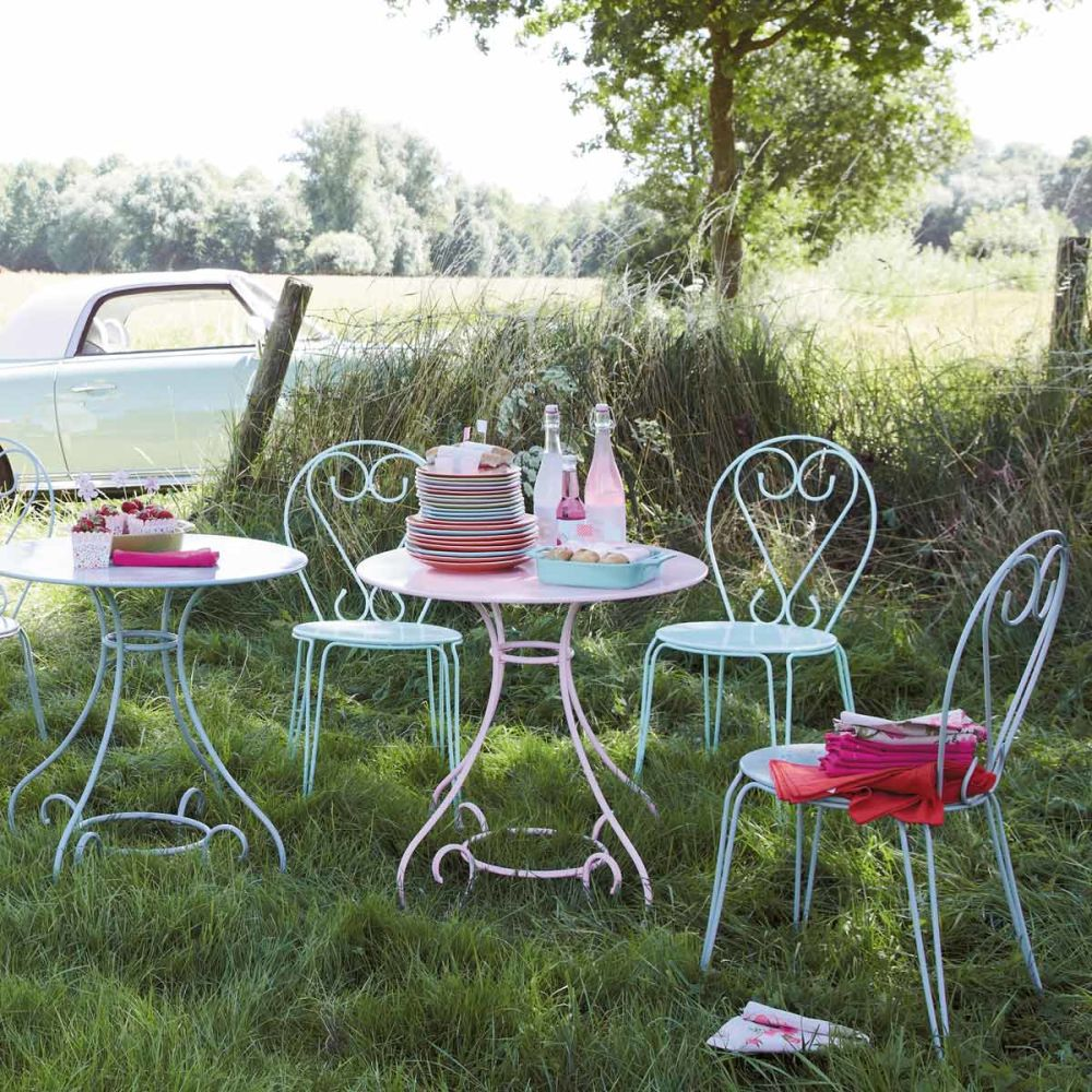 Table de jardin ronde m tal rose mary maisons du monde - Table de jardin metal ...