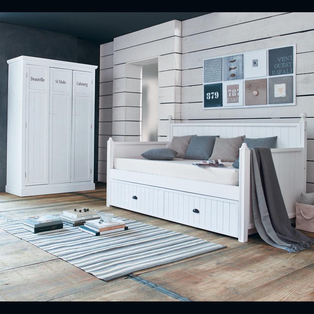 Verstiaire en bois blanc l 125 cm newport maisons du monde - Commodes maison du monde ...
