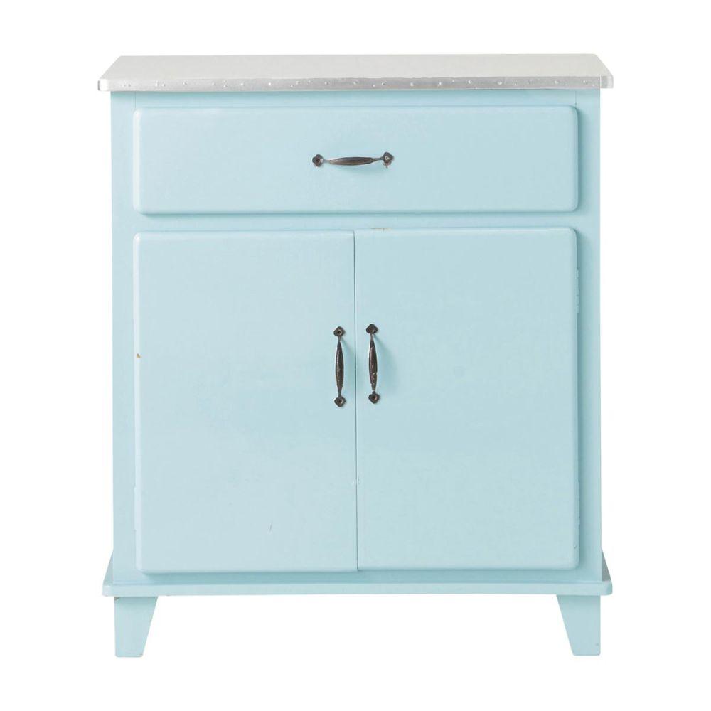 Buffet de cuisine vintage en bois bleu l 73 cm kitchen - Meuble de cuisine retro ...
