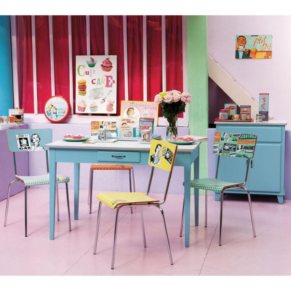 Buffet De Cuisine Vintage En Bois Bleu L 73 Cm Kitchen Maisons Du Monde
