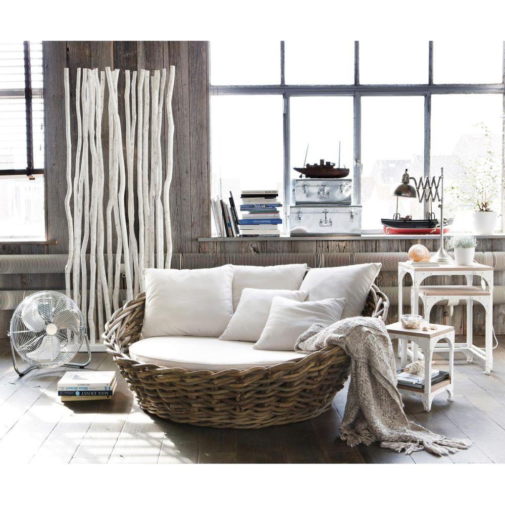 Paravent en teck blanc l 87 cm jungle maisons du monde - Paravent maison du monde ...