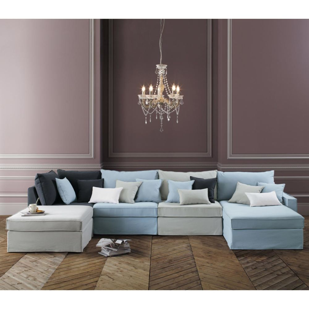 Chauffeuse en coton crue l 92 cm enzo maisons du monde for Monsieur meuble canape tissus