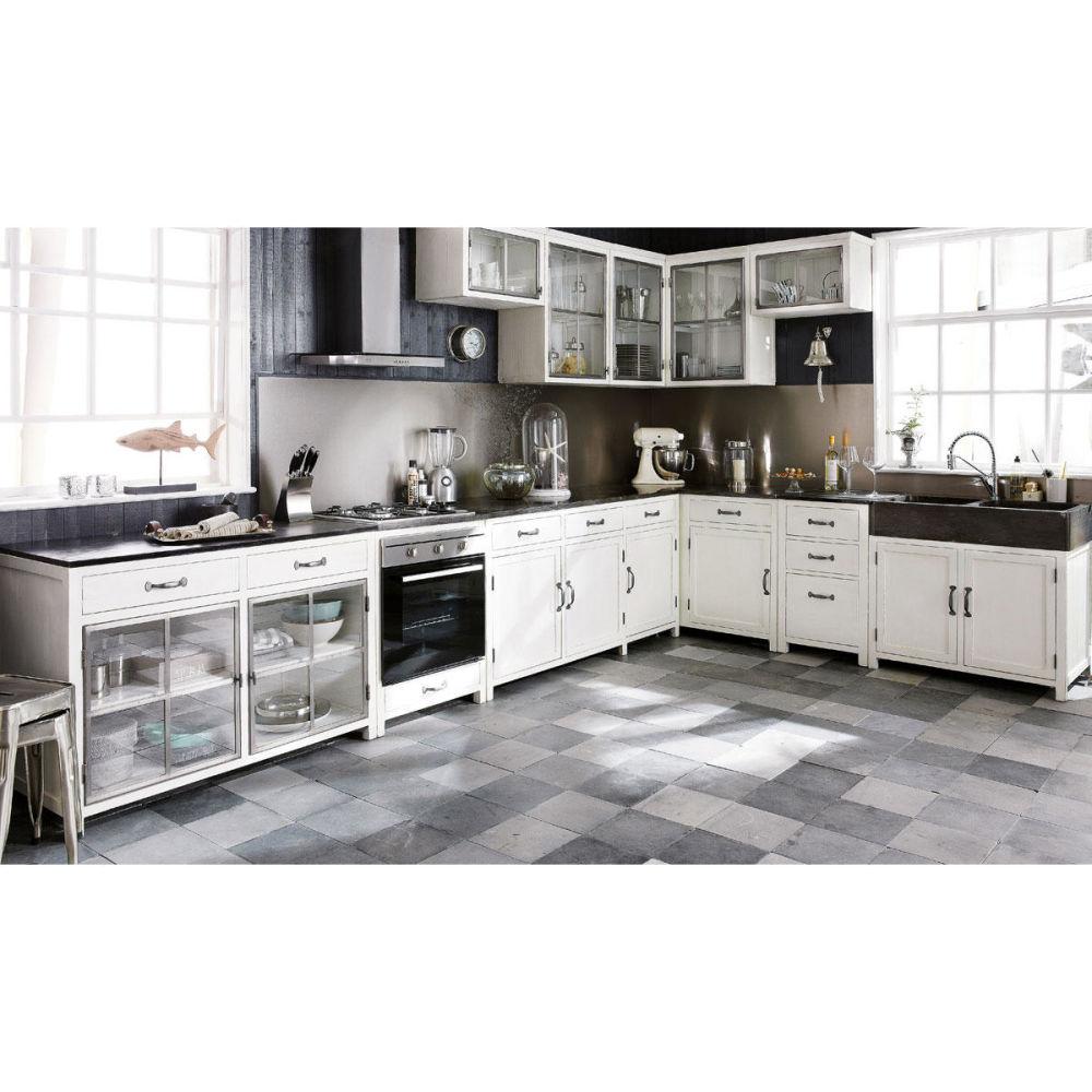 Meuble haut de cuisine ouverture gauche en bois recycl for Element de cuisine independant