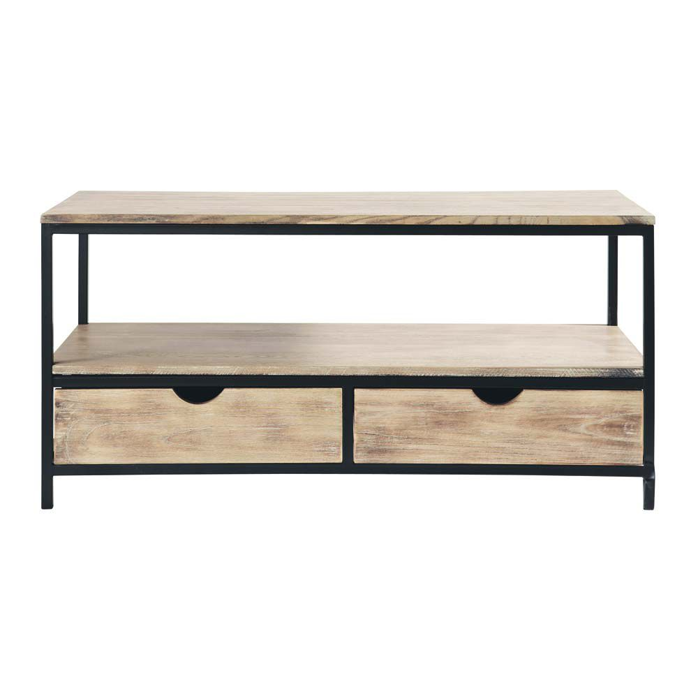 meuble tv indus en m tal et bois massif noir l 117 cm long island maisons du monde. Black Bedroom Furniture Sets. Home Design Ideas
