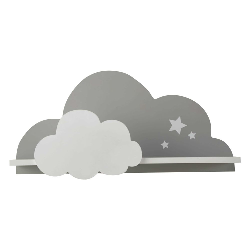 étag¨re murale nuage blanc gris 24 x 50 cm SONGE