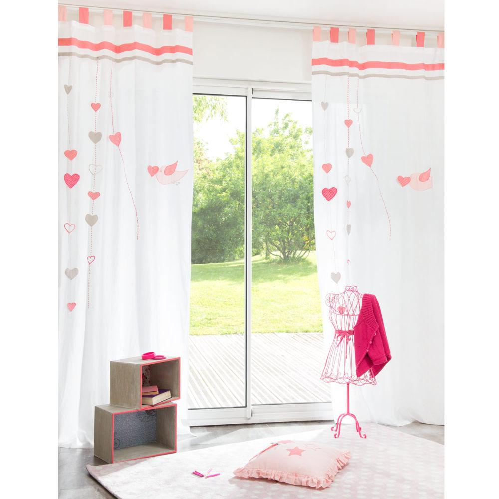 Rideau à passants en coton blanc/rose 105 x 250 cm IDUNA | Maisons ...