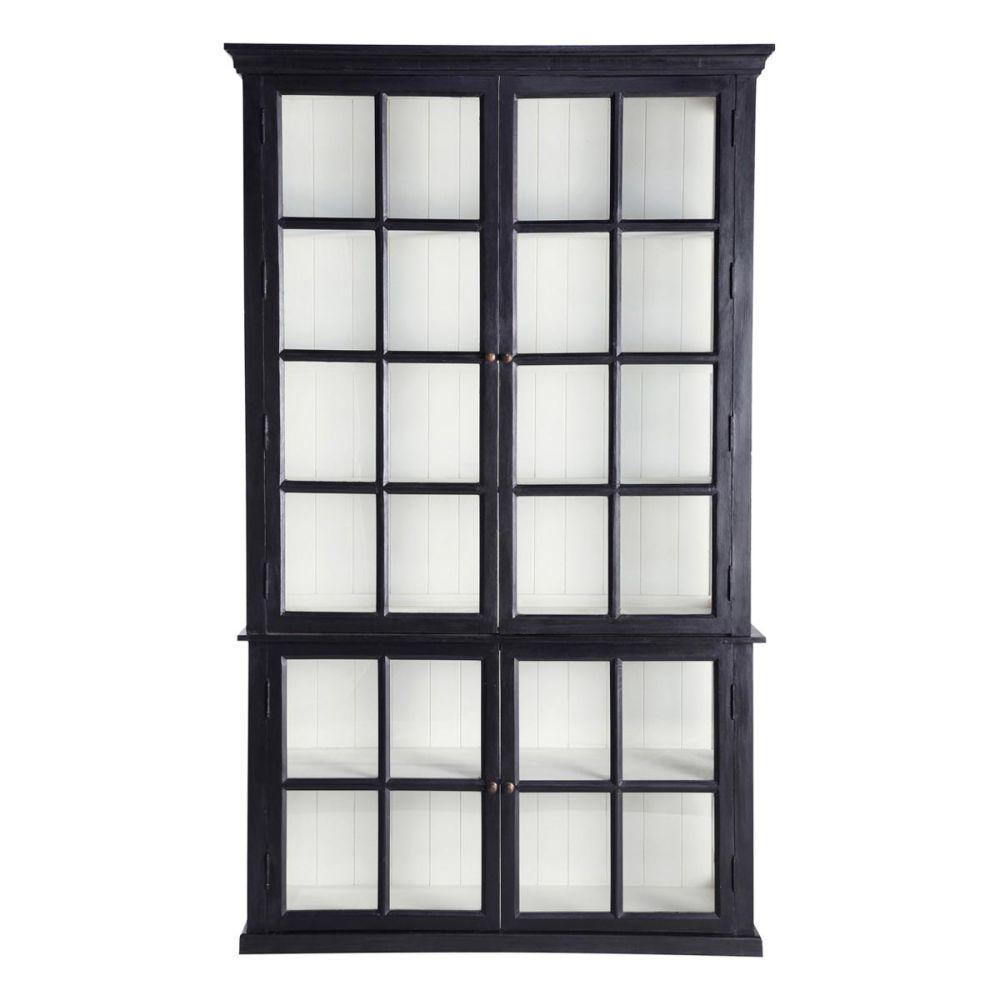 Mango wood bookcase in black w 135cm - home and garden furni.