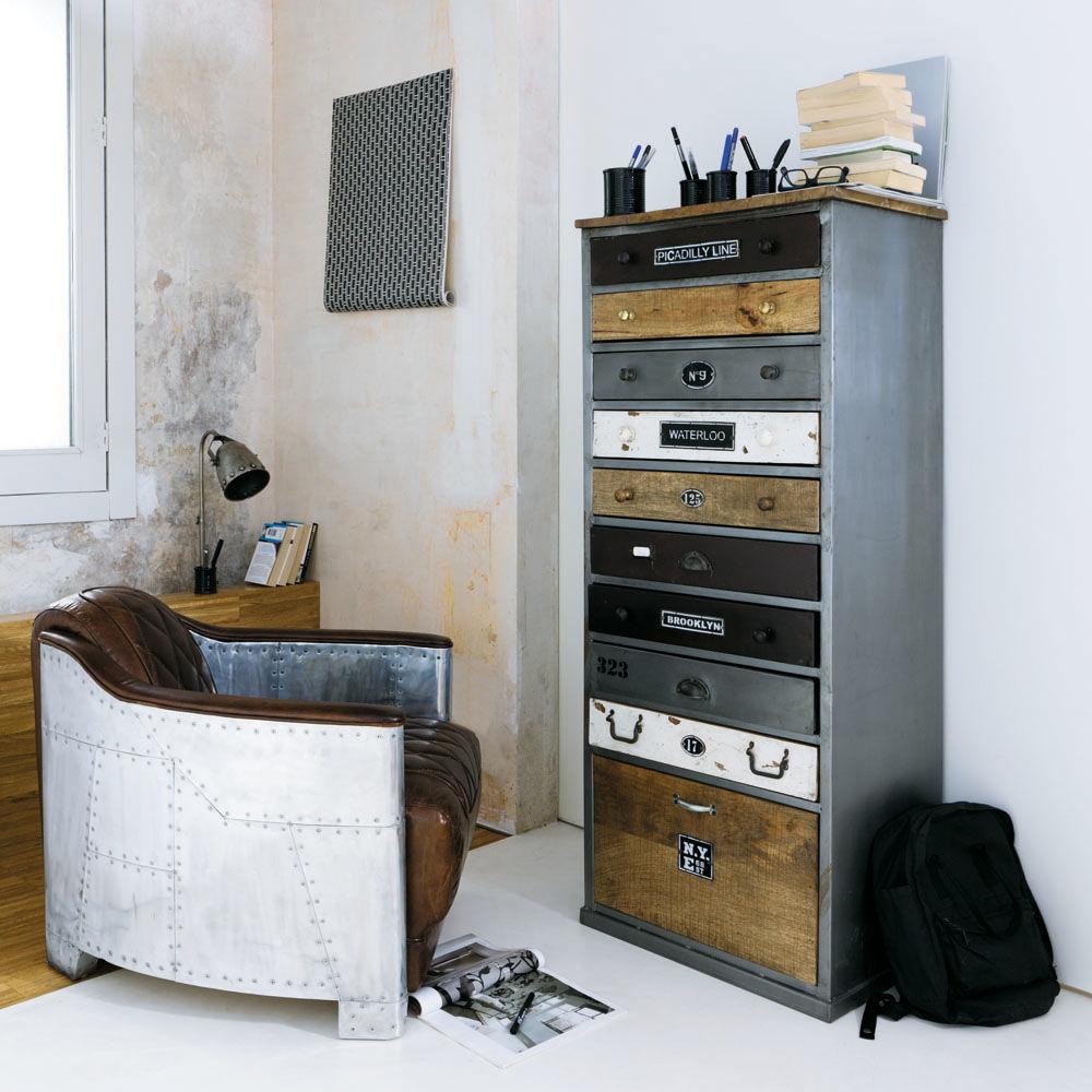 semainier en bois effet vieilli l 59 cm lazare maisons du monde. Black Bedroom Furniture Sets. Home Design Ideas