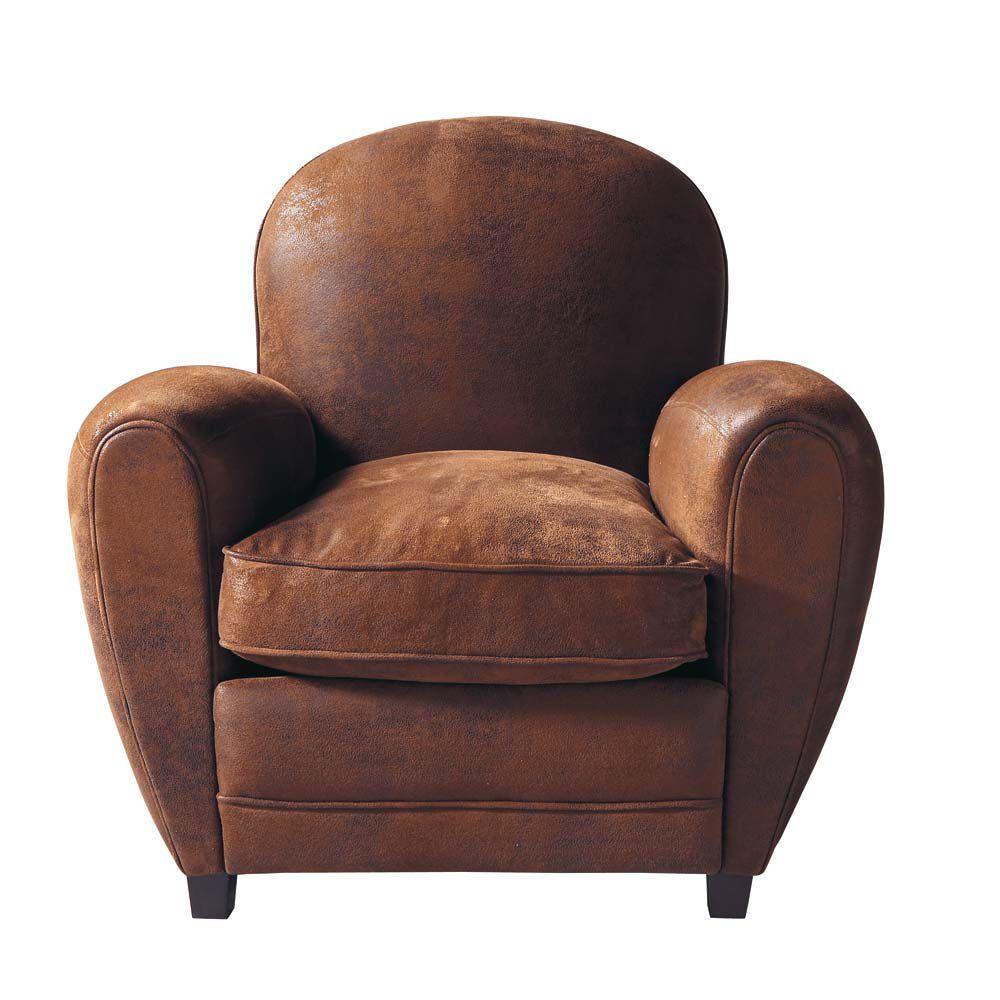 Fauteuil club en microfibre marron arizona maisons du monde - Maison du monde fauteuil ...