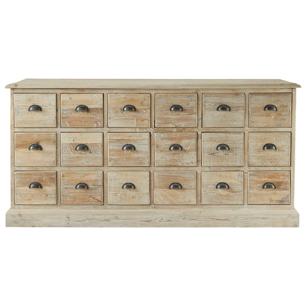 Buffet multi tiroirs en bois recycl l 170 cm lausanne for Meuble apothicaire