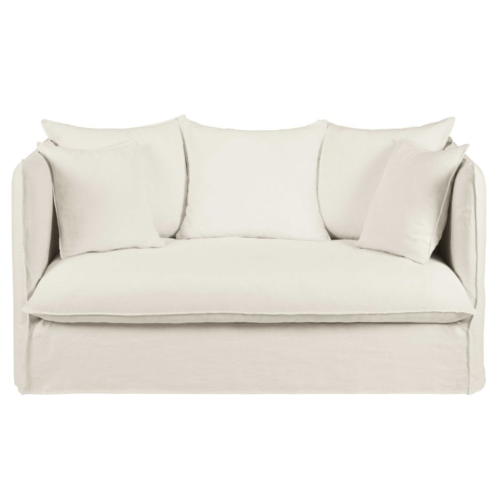 White 2 seater washed linen sofa bed Louvre