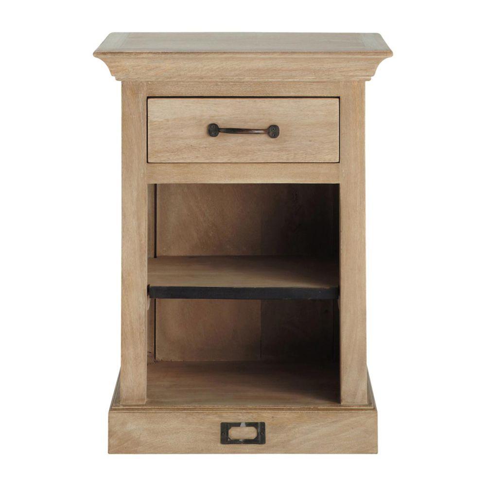 Table de chevet avec tiroir en manguier l 45 cm naturaliste maisons du monde - Table de chevet bois et metal ...