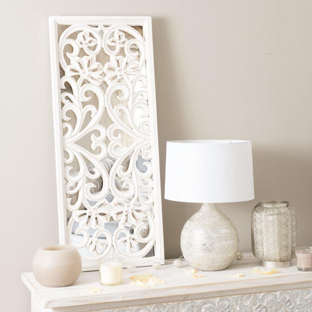 Miroir ranakpur blanc maisons du monde for Miroir quadrilobe blanc