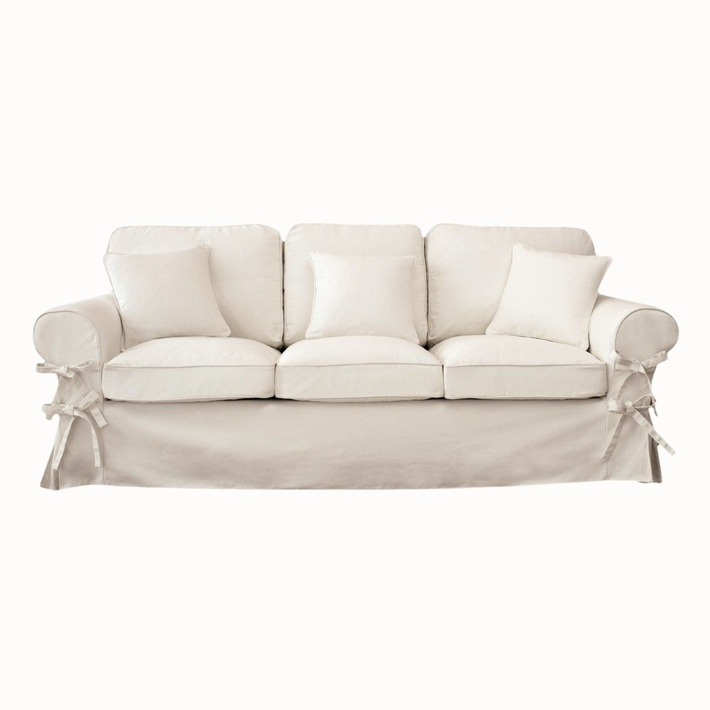 Canapé 3 places en coton ivoire Butterfly | Maisons du Monde