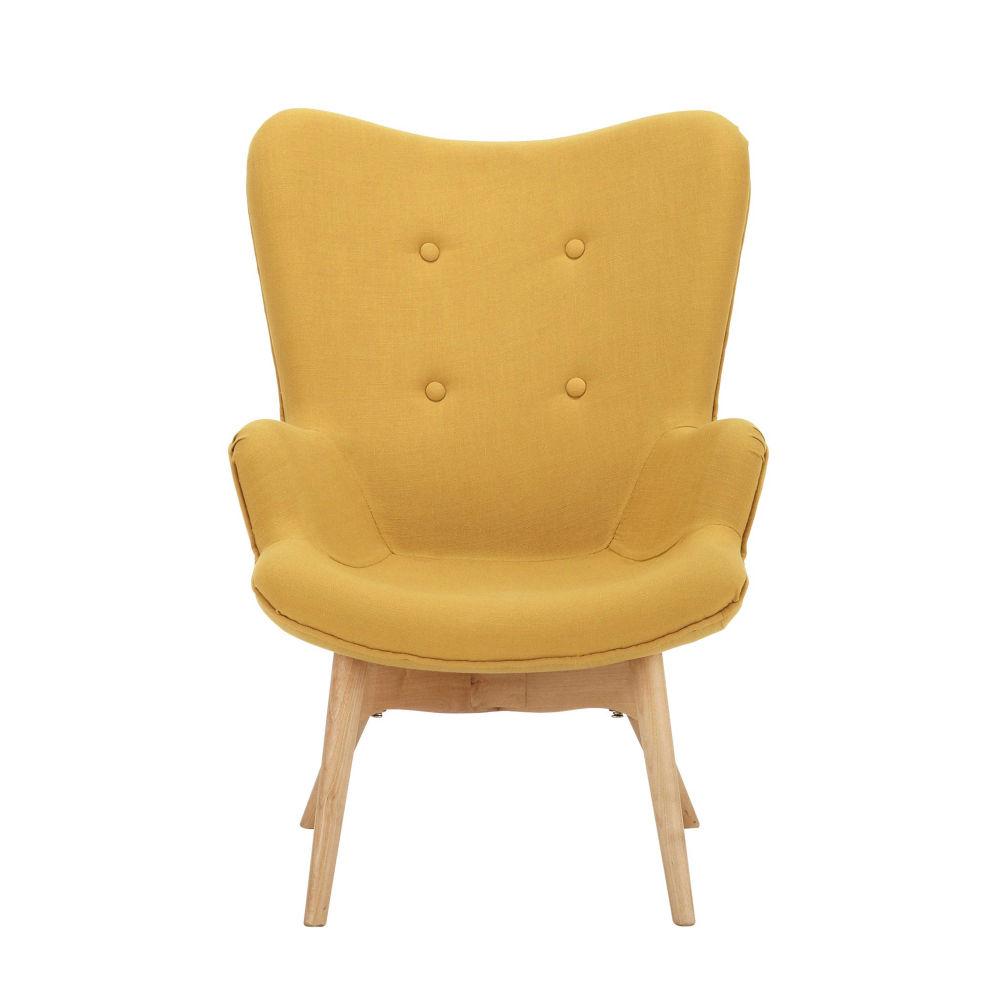 fauteuil vintage enfant en bois et tissu jaune iceberg maisons du monde - Fauteuil Scandinave Enfant