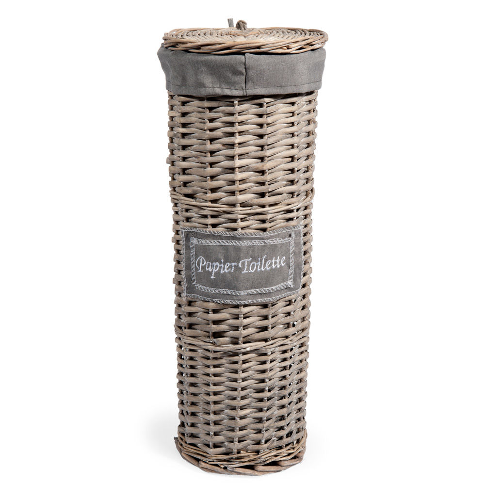 Panier papier toilette gris maisons du monde for Rangement papier toilette original
