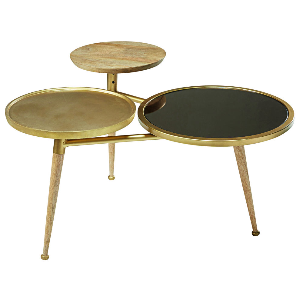 Mango wood and gold metal coffee table Gatsby Maisons du Monde