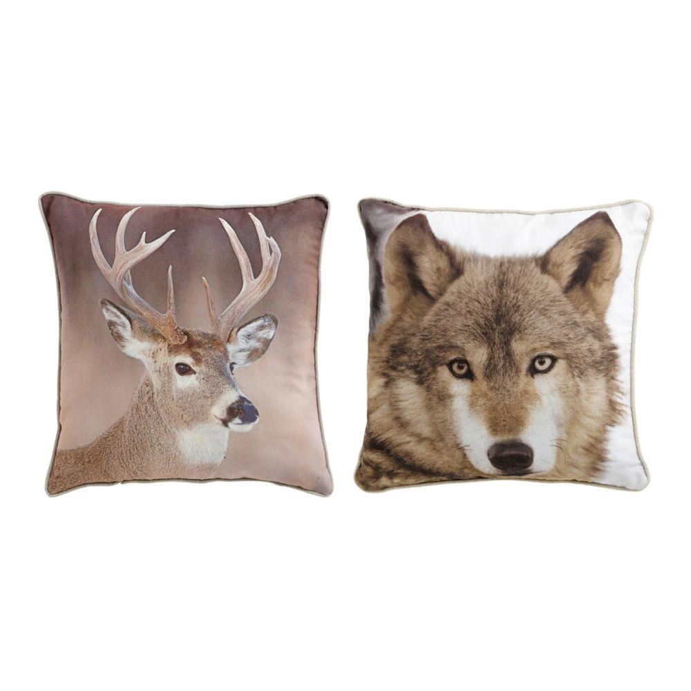 ensemble de 2 coussins loup et cerf nature 45x45 cm. Black Bedroom Furniture Sets. Home Design Ideas