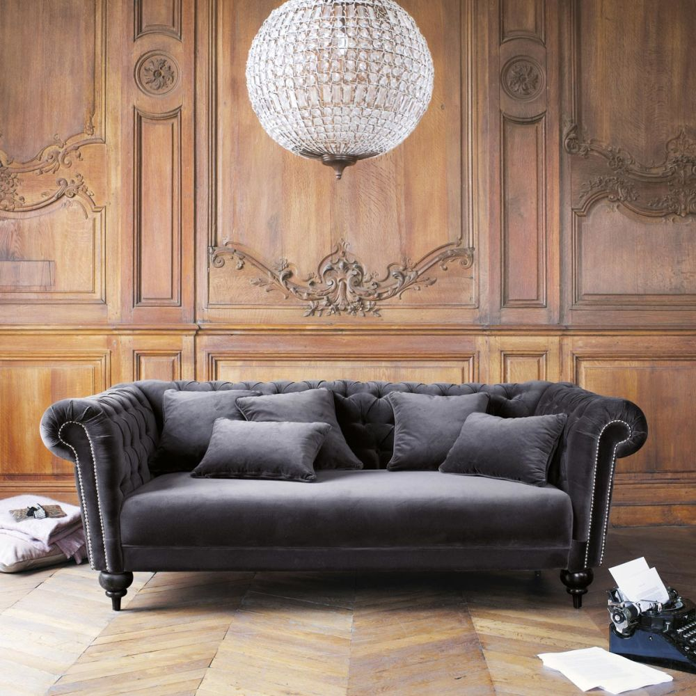 Sofa in grey velvet seats 3 carmen carmen maisons du for Maison de monde uk