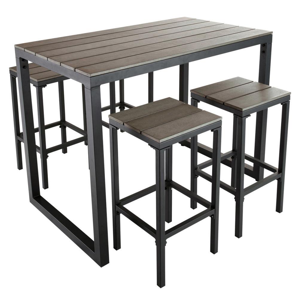 tabouret de bar de jardin en composite imitation bois et aluminium escale m. Black Bedroom Furniture Sets. Home Design Ideas