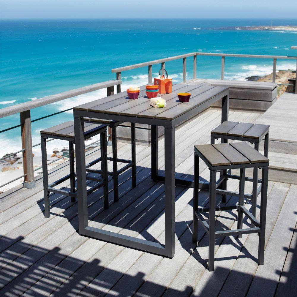 Tabouret de bar de jardin en composite imitation bois et - Tabouret de bar pour exterieur ...