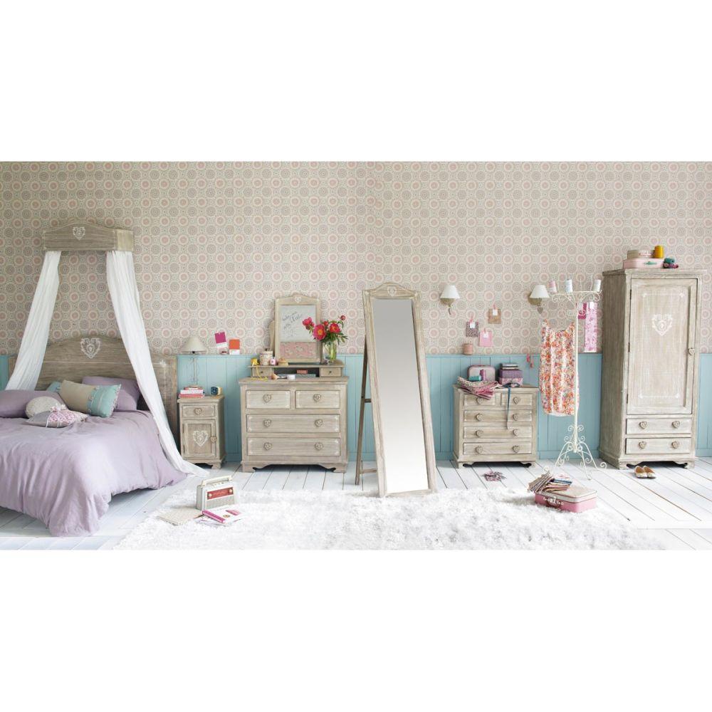 Table de chevet avec tiroir en bois de paulownia gris e l 38 cm camille maisons du monde - Chambre petite fille maison du monde ...