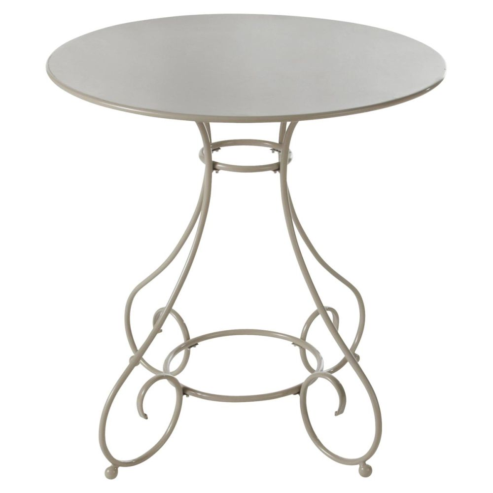 Table de jardin en m tal taupe d 70 cm mary maisons du monde for Table ronde metal