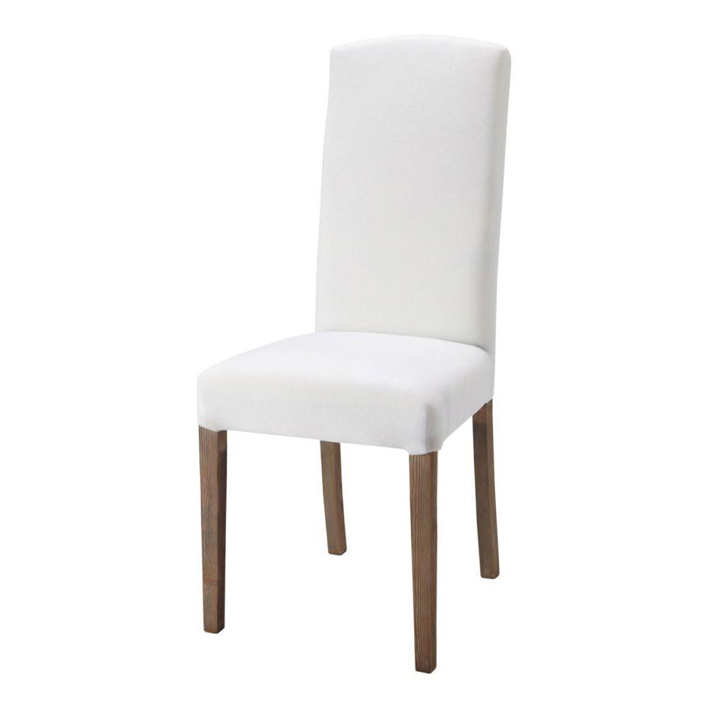 Chaise en tissu et bois blanche alice maisons du monde for Chaise blanche pied en bois