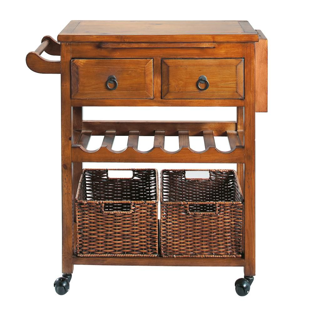 Stained solid wood kitchen trolley W 80cm Sherwood | Maisons du Monde