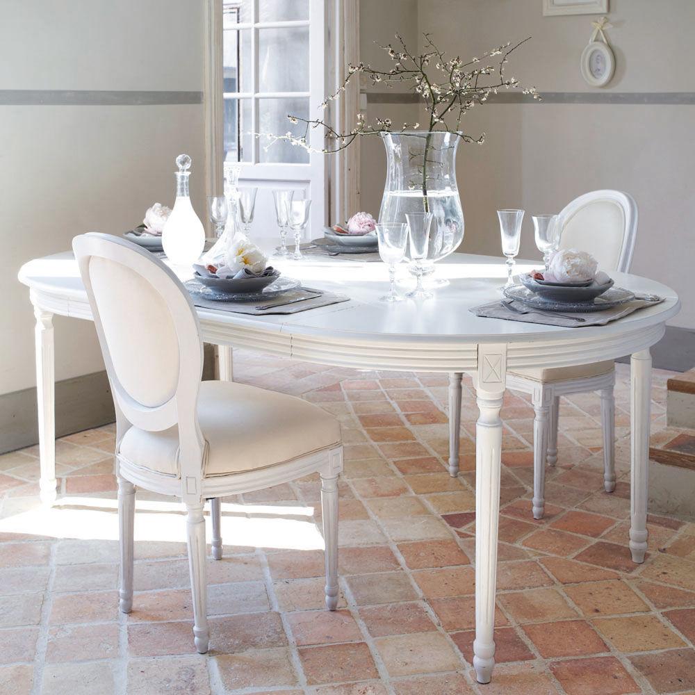 Tavolo da pranzo bianco louis louis maisons du monde for Table et chaise de salle a manger maison du monde