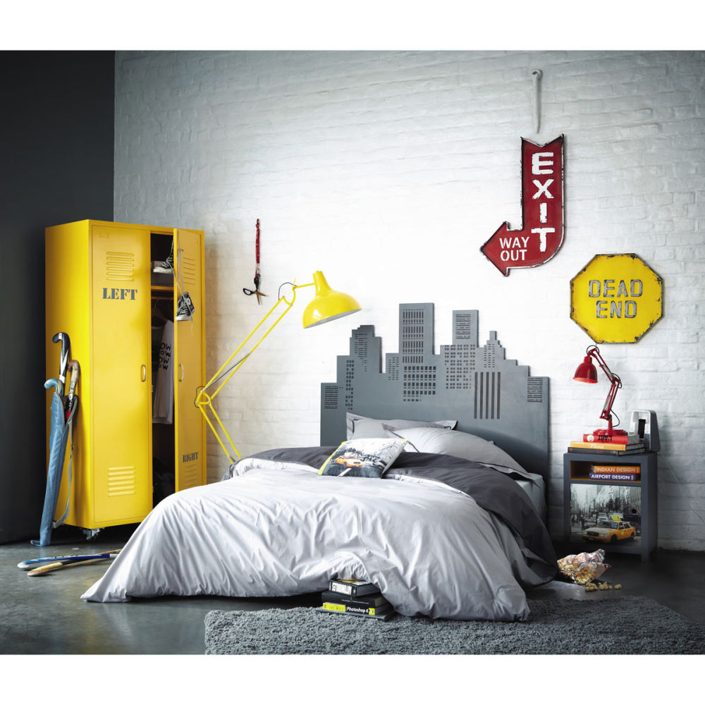 t te de lit 140 cm grise skywalk maisons du monde. Black Bedroom Furniture Sets. Home Design Ideas
