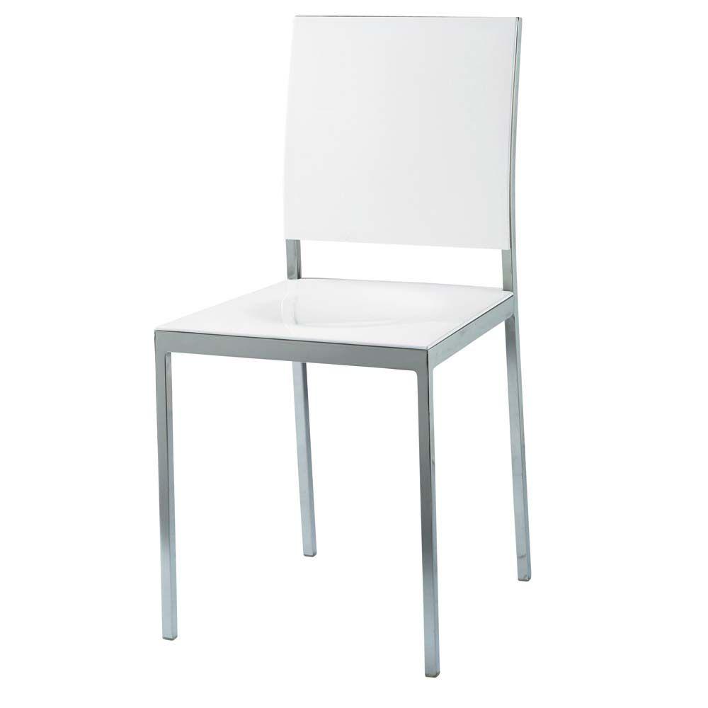 Chaise en plastique et m tal blanche oslo maisons du monde - Maisons du monde chaises ...