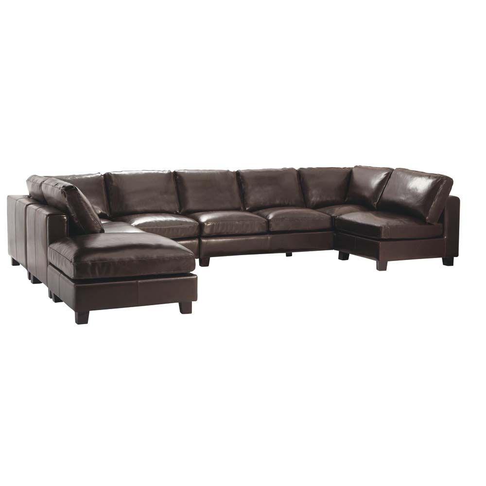 canap d 39 angle forme u 7 places en cro te de cuir chocolat. Black Bedroom Furniture Sets. Home Design Ideas