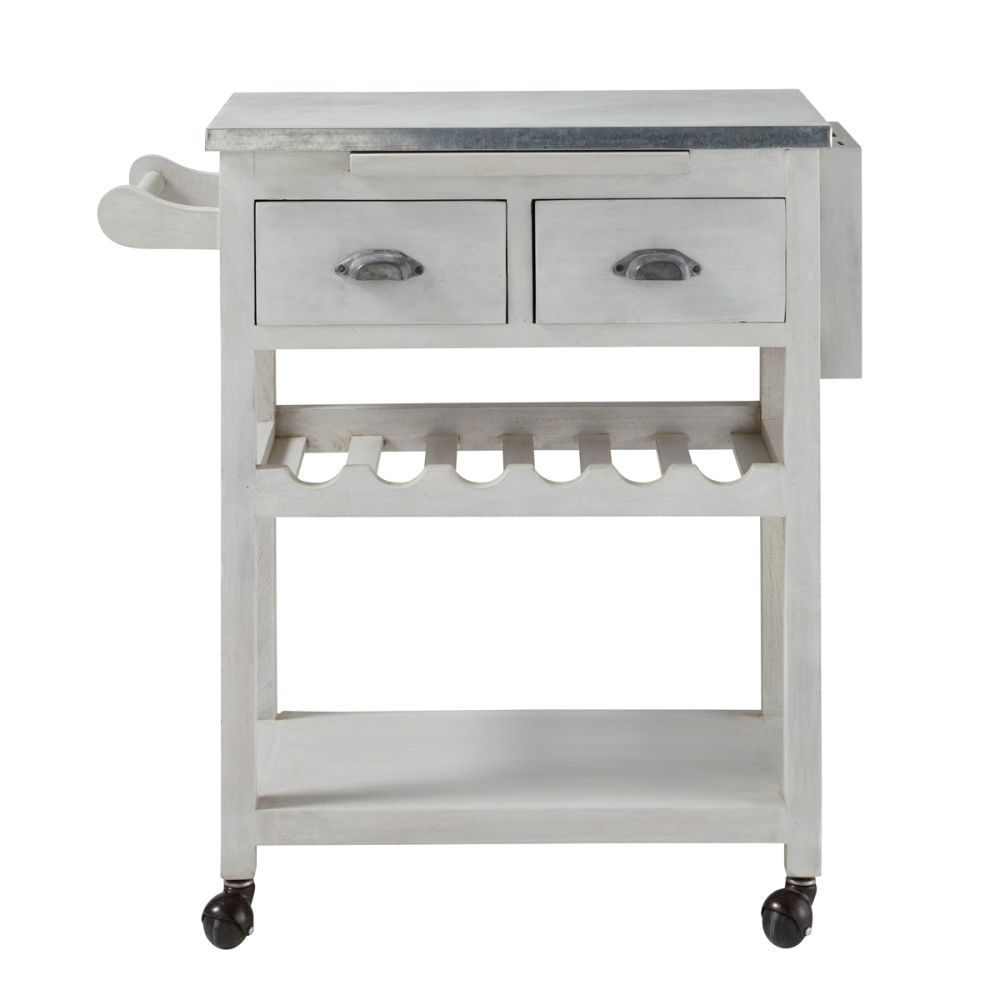 White Kitchen Trolley grey acacia wood kitchen trolley l 80 cm zinc | maisons du monde