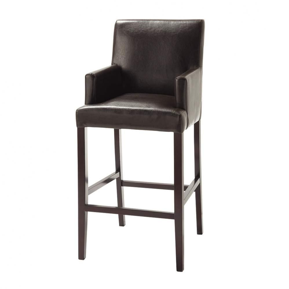 tabouret de bar imitation cuir et bois massif marron. Black Bedroom Furniture Sets. Home Design Ideas