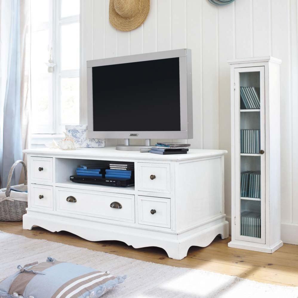 Meuble tv en bois de paulownia blanc l 117 cm jos phine for Meuble de maison