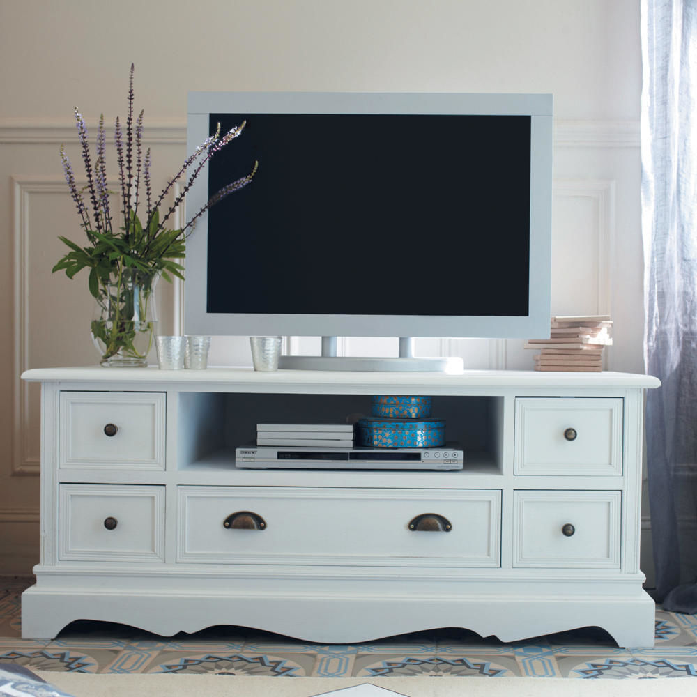 meuble tv en bois de paulownia blanc l 117 cm jos phine. Black Bedroom Furniture Sets. Home Design Ideas