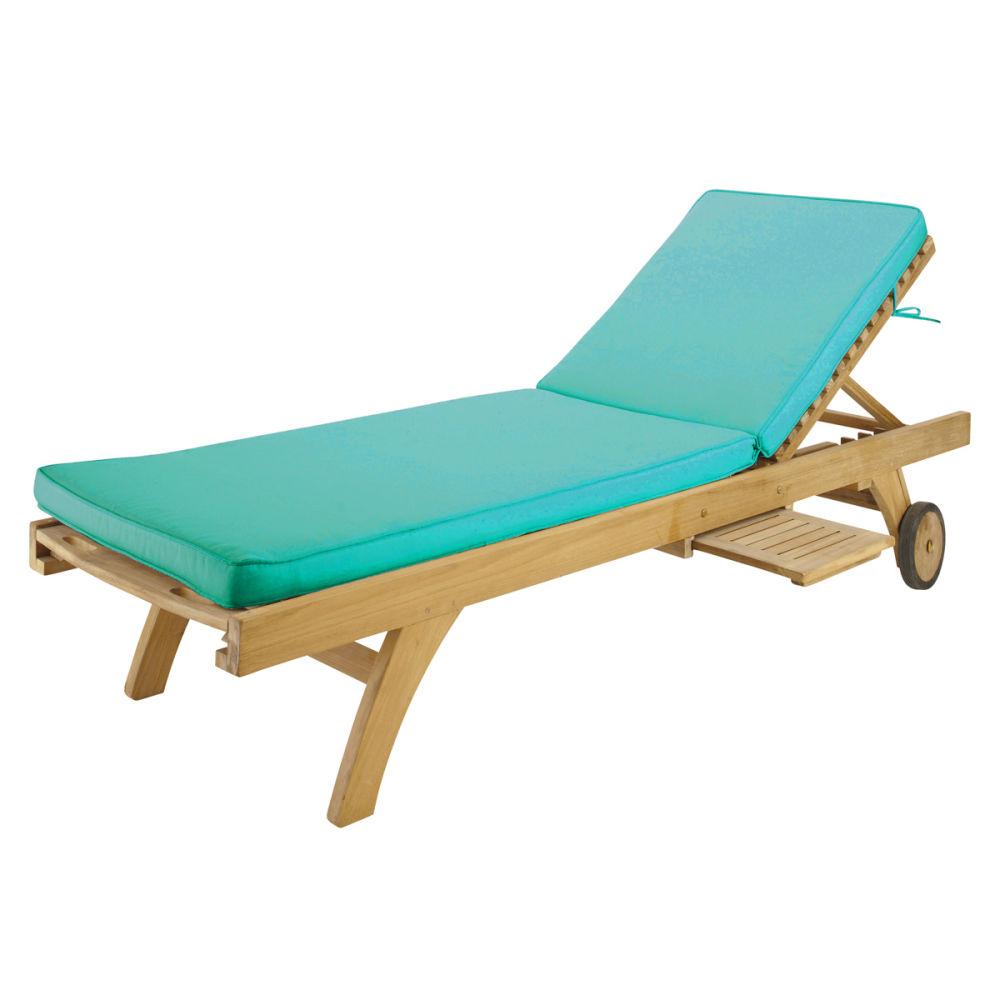 Matelas bain de soleil en tissu turquoise l 196 cm sunny maisons du monde - Bain de soleil turquoise ...