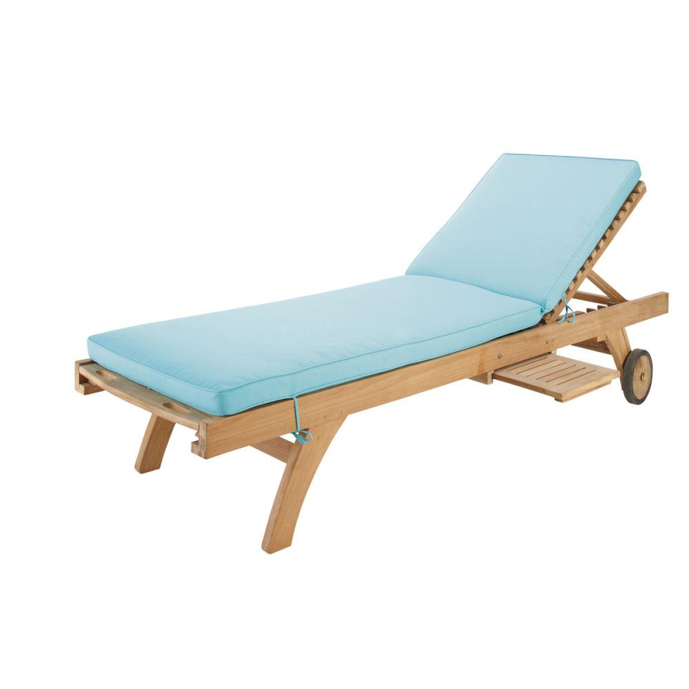Matelas bain de soleil en tissu turquoise l 196 cm sunny for Chaises bain de soleil