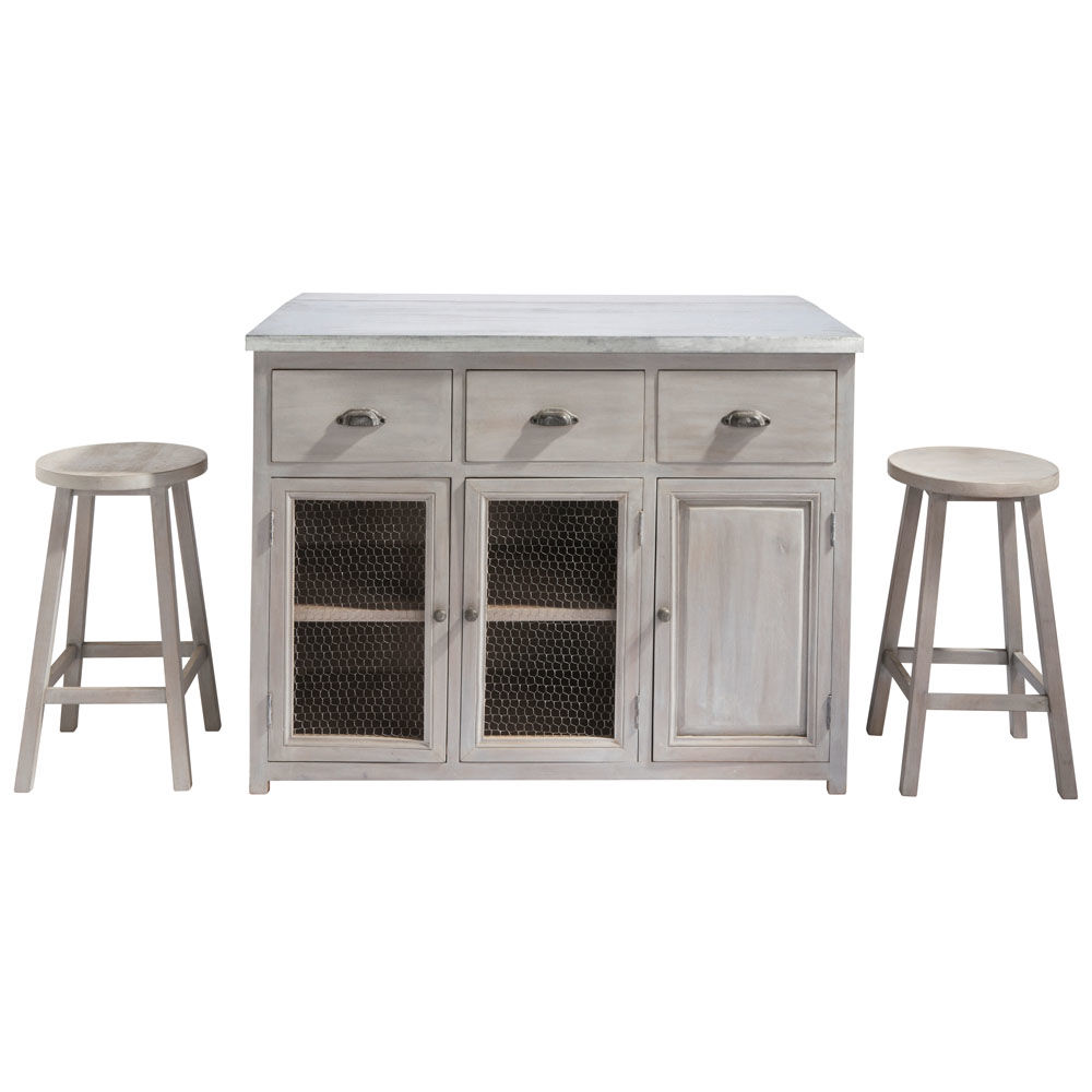 Ilot central 120 cm 2 tabourets zinc maisons du monde for Meuble cuisine ilot central