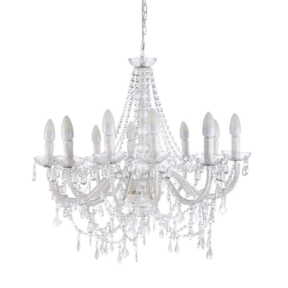 Lustre 12 branches en métal blanc D 75 cm PAMPILLES | Maisons du Monde