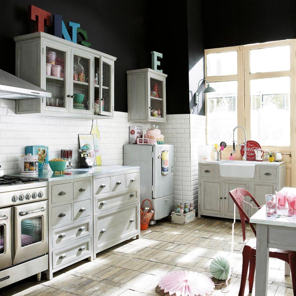 Cuisine l ment bas 60 zinc maisons du monde for Maison du monde meuble cuisine