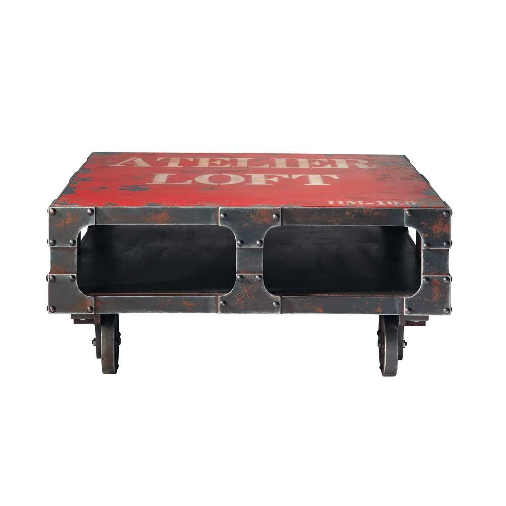 table basse roulettes en bois rouge l 90 cm terminus. Black Bedroom Furniture Sets. Home Design Ideas