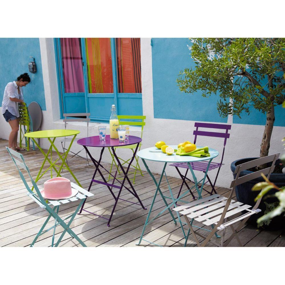 Table de jardin ronde anis m tal confetti maisons du monde for Table jardin maison du monde