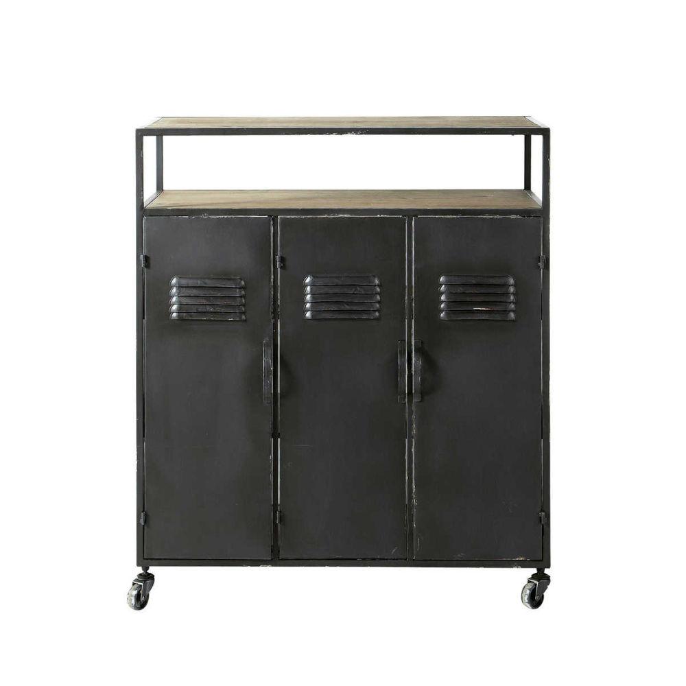 meuble de bar indus roulettes en m tal anthracite l 85. Black Bedroom Furniture Sets. Home Design Ideas