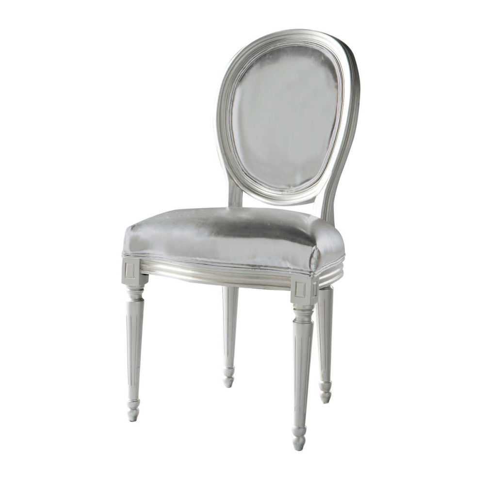 Chaise m daillon en textile enduit et ch taignier argent louis maisons du m - Maison du monde chaise louis ...