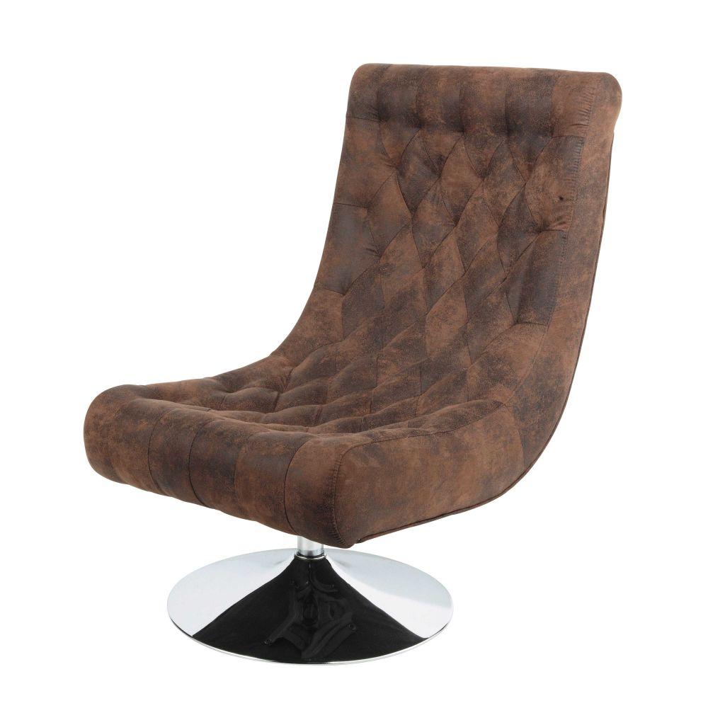 fauteuil capitonné en microfibre marron bossley | maisons du monde - Chaise Tulipe Maison Du Monde